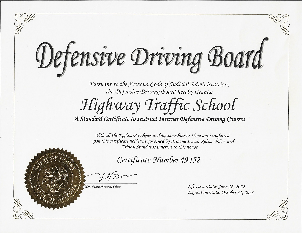Arizona Defensive Driving Certification